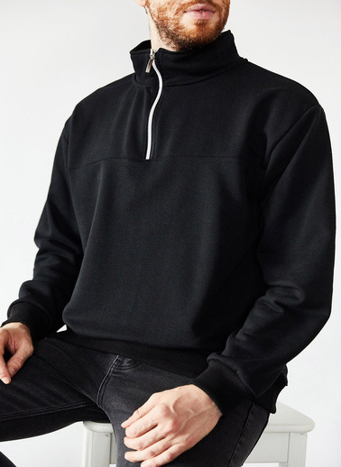 XHAN Siyah Yakası Fermuarlı Sweatshirt 1Kxe8-44172-02 Siyah